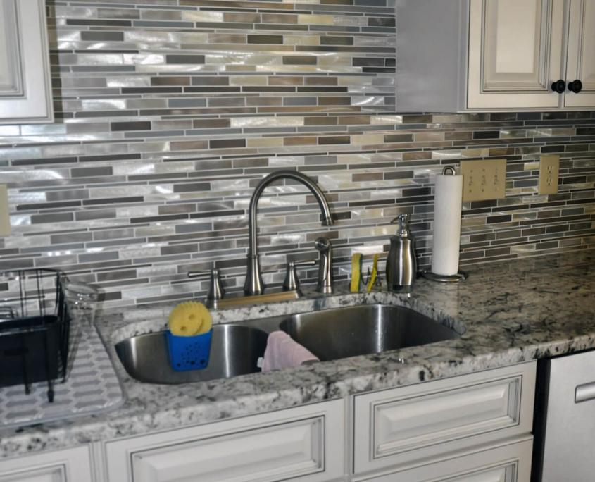 Silver tile backsplash with stainless steel sink greensboro nc