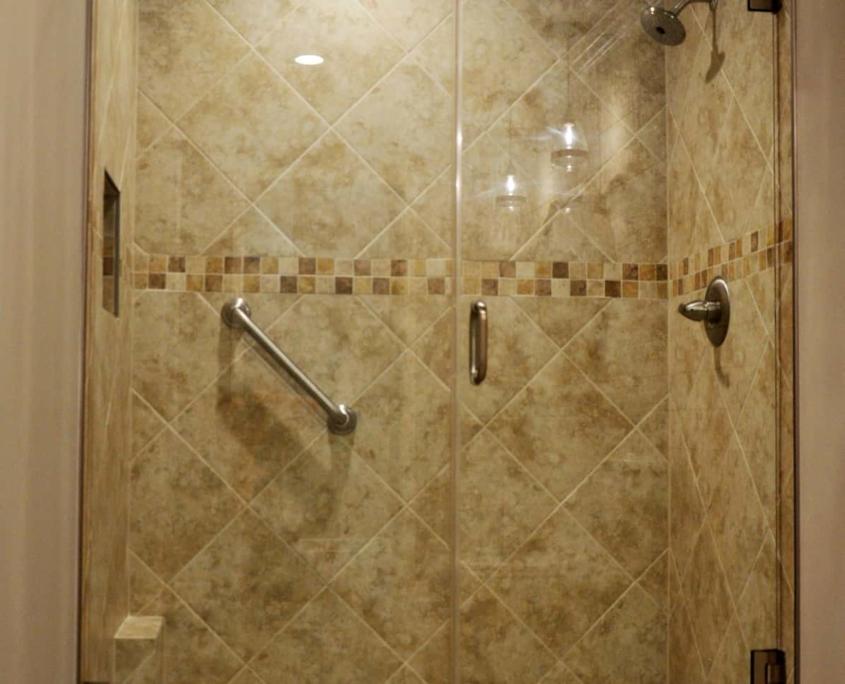 Tile shower Shiplap walls double vanity bathroom barn door remodel winston salem nc
