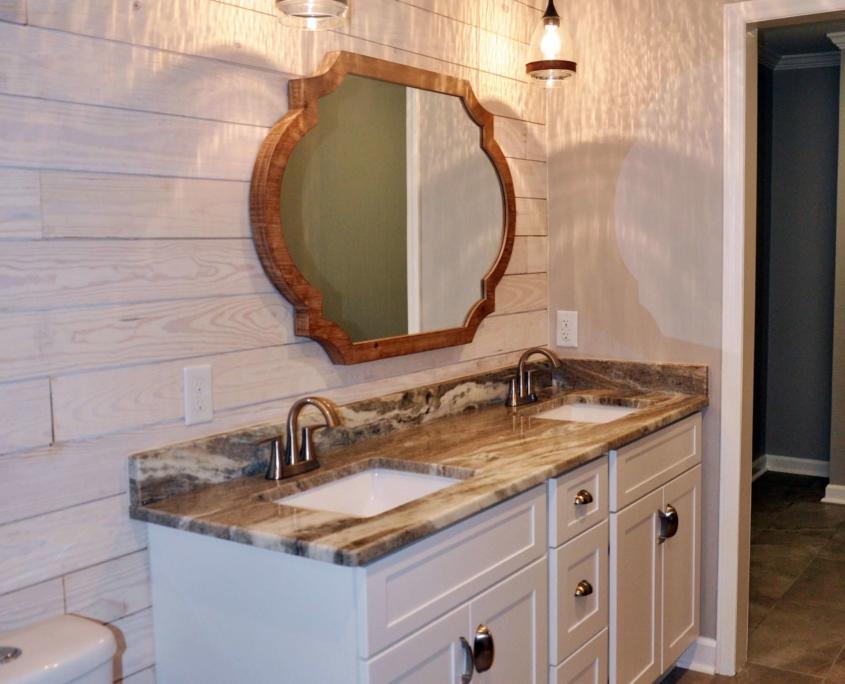 Shiplap walls double vanity bathroom remodel winston salem nc