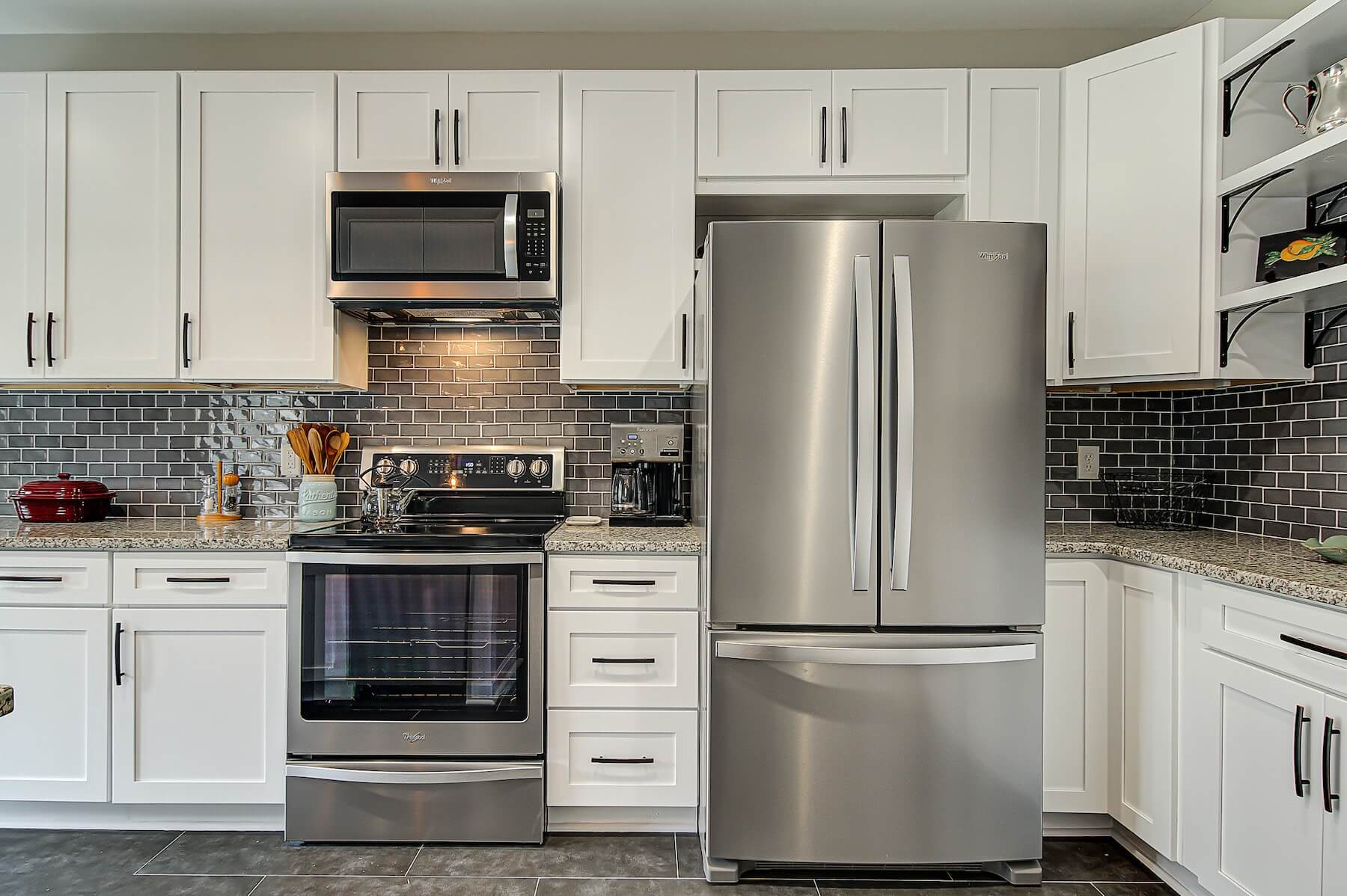 stainless steel appliances new kitchen remodel kernersville nc granite countertops white cabinets subway backsplash