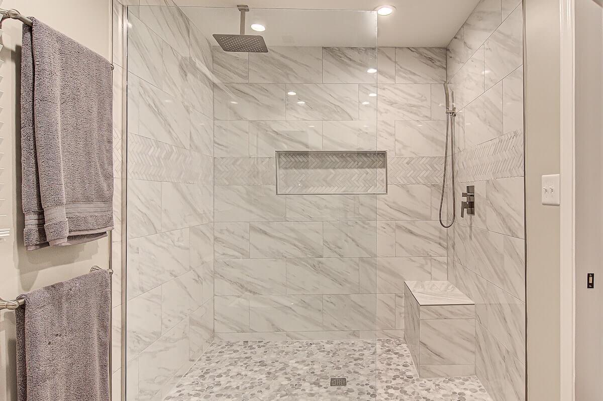 walk in tile shower bathroom remodel winston salem nc